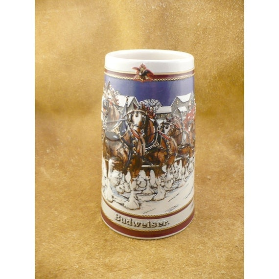 1989 Budweiser Beer Clydesdale Horses Holiday Stein - Anheuser Busch Christmas Collector Stein - Vintage Christmas Advertising