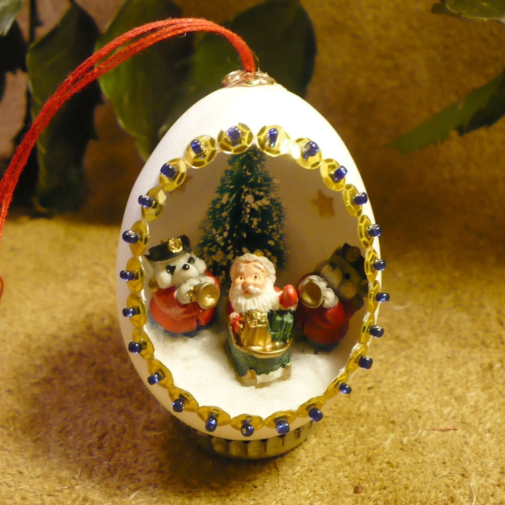 Santa Claus Egg Ornament Santa's Big Send-Off Handmade
