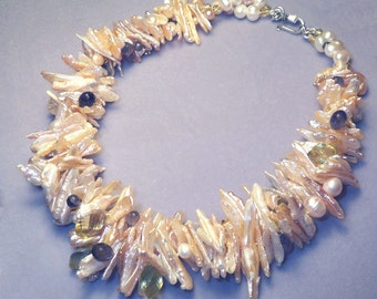 Two Strands of Dramatic and Gorgeous Pearls, Lemon Citrine and Iolite cluster necklace