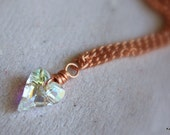 Swarovski Crystal Necklace, Heart, Copper, Gifts for Her Under 40