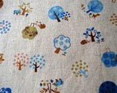 Hedgehogs and Trees - Japanese Cotton-Linen Fabric (Fat Quarter)