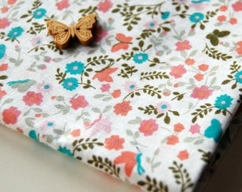 Flowers and Butterflies in Coral and Turquoise (Half Yard)