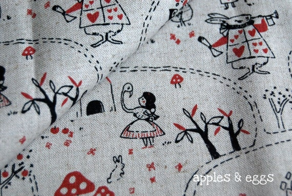Alice in Wonderland in Red - Japanese Cotton-Linen Fabric (Fat Quarter)