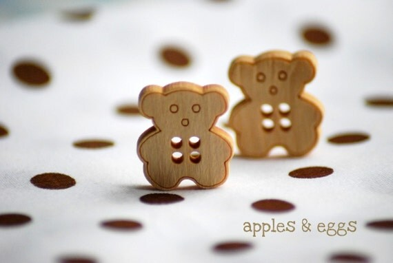 Wooden Teddy Bear Buttons (Set of Four Buttons)