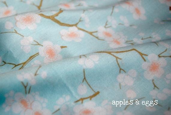 Beautiful Cherry Blossoms on Pale Turquoise - Japanese Fabric (Half Yard)
