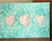 Textured Silk Hearts quilted postcard