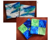Reversible Quilted Dolphins/Ocean Coasters (set of 2)