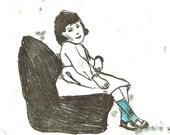 Original Illustration ink Monotype - vintage girl with blue socks-