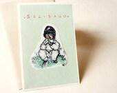 Original illustrated card OOAK- children illustration - Solidago -