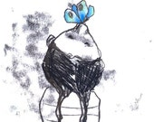 Original Monotype Drawing - Spring time- black white - the blue butterfly-