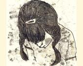 Original Illustration ink - Sepia white- Girl with Braids -