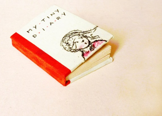Mini art book OOAK - little girl red baloon -