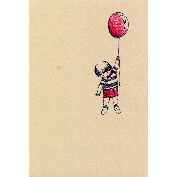 Children Illustration Print - Black ink drawing - the red baloon -