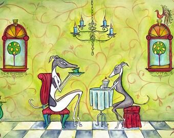 8.5x11 - Greyhounds having tea - print of original art