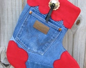 Red Blue Jean Wrangler Stocking - Someone Lost Their Britches -  Upcycled Reclaimed Jean Christmas Stocking