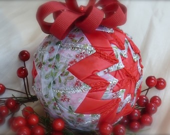 Holly and Ivy Quilted Ribbon Ornament - Red, Green, Silver, White