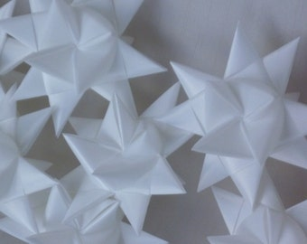 12 Floating Snowy White Stars New Years Decor Favors