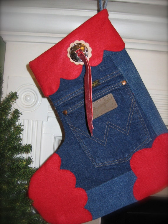 Cowboy Tough Distressed Wrangler Christmas Stocking       Recycled Reclaimed Reused Upcycled
