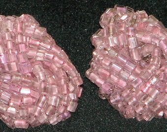Vintage Czech Pink Glass Seed Bead Cluster Earrings 5325 Free Shipping