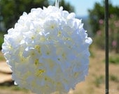 White Hydrangea Flower Ball with Sheer Ribbon Handle