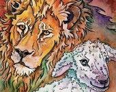 Animal Print--Lion, Lamb--Wall Art Print--Children, Nursery, or Christmas Celebration