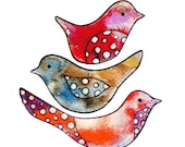 Download Scrapbook fun--Sweet Little Watercolor Birdies. Original Contemporary Illustration turned Art Collage Sheet Digital Printable