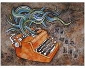 Watercolor Art Print. Memory Harvest. Vintage Typewriter Contemporary Illustration. Masculine colors brown, orange. Man Gift, Dad, Pastor.