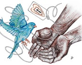 A Prayer, Bird, Protection--Fly into Loving Hands--Fine Art Print--CUSTOMIZE ME