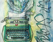 Vintage Typewriter, Stripes, Feathers--Large Fine Art Print--Limited Edition Watercolor Reproduction