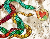 Strange Love--Fun Fall Wall Art--Friendly Snakes--Size a4 Fine Art Print