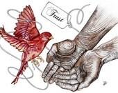 Harvest Red Bird--Trust, Thanksgiving, Christmas gift--Fine Art Wall Art--CUSTOMIZED Print