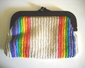 Vintage Clutch . Woven Purse . Rainbow Purse  FREE SHIPPING