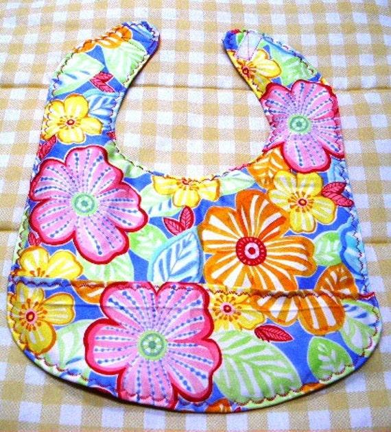 flowered bib,pocket bib, aloha