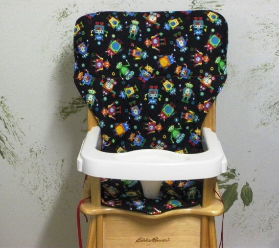 high chair seat cover,Jenny Lind/Eddie Bauer  pad replacement, happy robots
