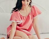 CHERISH womens linen sleep shirt with flutter sleeve - made to order