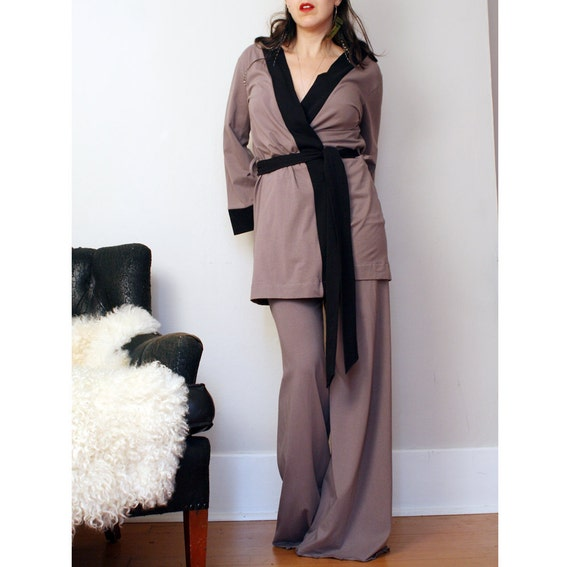 organic cotton pj set with robe and pants - ready to ship - sale - size small