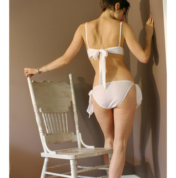 tencel lingerie set in off white with bikini and bralette - PEARL bridal range - ready to ship size small