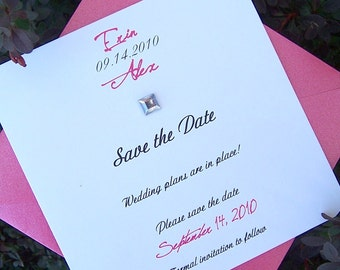 Pink, ivory, white save the date, gem save the date, fun save the date, modern save the date