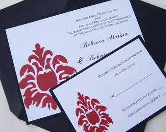 Chic wedding invitation, black, red, white, gold, invitation, damask invitation, modern invitation