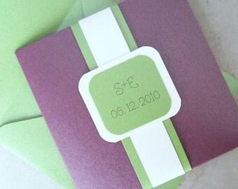 Pocketfold wedding invitation, Purple, green, ivory, metallic wedding invitation, pocketfold invitation, monogram pocketfold invitation