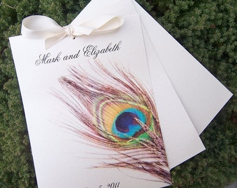 Peacock feather program, ivory, metallic program, multicolor program, peacock wedding program