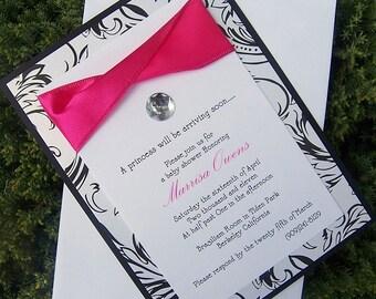 Glamourous Invitation, damask invitation, black, white pink invitation, elegant invitation, modern invitation