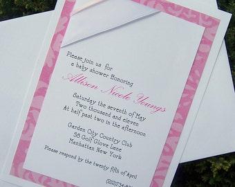 Baby shower invitation, girl shower invitation, pink baby invitation, elegant baby shower invitation, modern shower invitation