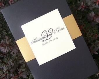 Gold and Black wedding program, banded wedding program, ivory wedding program, monogram program, elegant wedding program