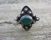 Sterling silver and chrysoprase modernist ring