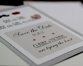 Save the Date - Mustache & Lips 5x7 Card - Boy Met Girl - Personalized Monogram