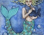 Mixed-Media Mosaic Mermaid 8 x 10 Inch Print