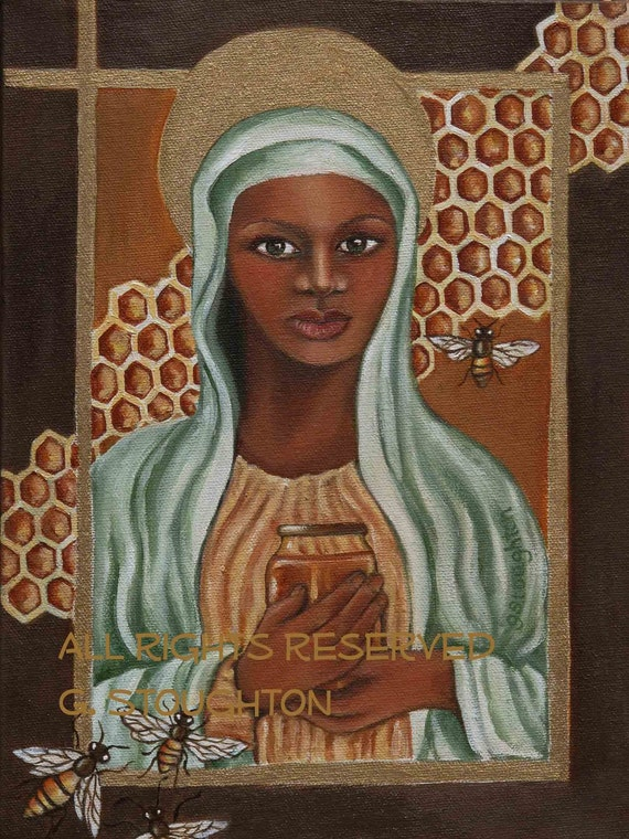 "Black Madonna from the ""Secret Life of Bees"" 8x10 print from original oil painting"