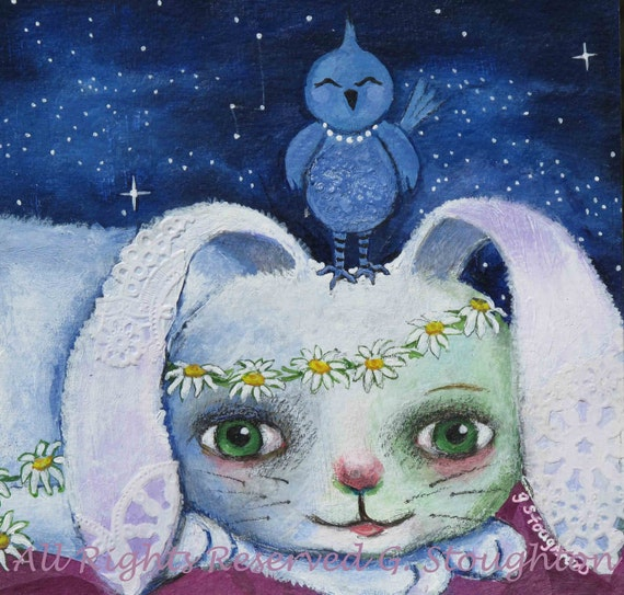 White Bunny Rabbit and Blue bird 6 x 6 Print