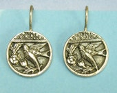 Victorian Button Casting Bird Motif Earrings set in Sterling Silver